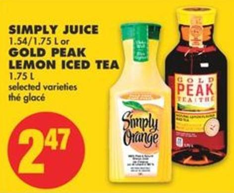 Simply Juice - 1.54/1.75 L Or Gold Peak Lemon Iced Tea - 1.75 L