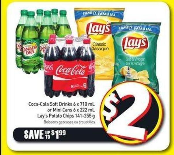 Coca-cola Soft Drinks 6 X 710 mL or Mini Cans 6 X 222 mL Lay's Potato Chips 141-255 g