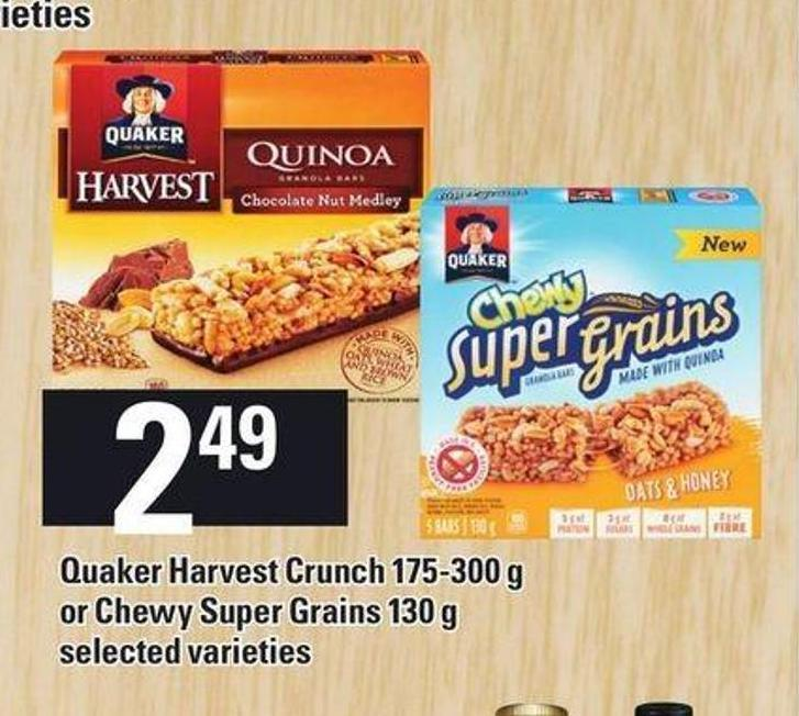 Quaker Harvest Crunch 175-300 G Or Chewy Super Grains 130 G