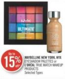Maybelline New York - Nyx Eyeshadow Palettes or L'oréal True Match Makeup Products