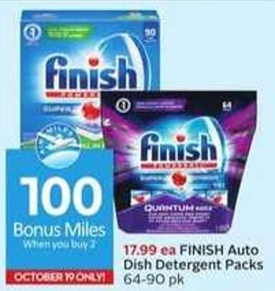 Finish Auto Dish Detergent Packs-100 Air Miles Bonus Miles