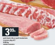 Pork Back Ribs Or Pork Tenderloin Cryovac - Pkg of 2