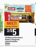 Clif Whey Protein Whey Or Builder's Energy Bars - 56/68 g