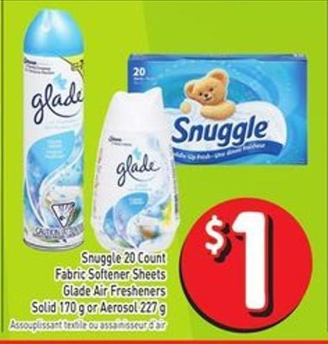 Snuggle 20 Count Fabric Softener Sheets Glade Air Fresheners Solid 170 g or Aerosol 227 g