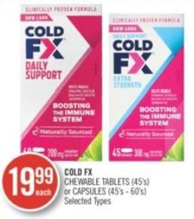 Cold Fx Chewable Tablets(15's) or Capsules(45's-60's)
