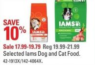 Selected Iams Dog and Cat Food