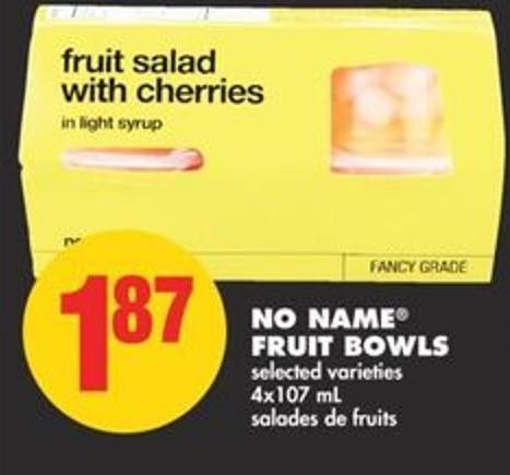 No Name Fruit Bowls - 4x107 mL
