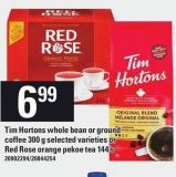 Tim Hortons Whole Bean Or Ground Coffee 300 g Or Red Rose Orange Pekoe Tea 144's