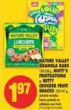 Nature Valley Granola Bars - 130-230 g - Mott's Fruitsations or Betty Crocker Fruit Snacks - 120-141 g