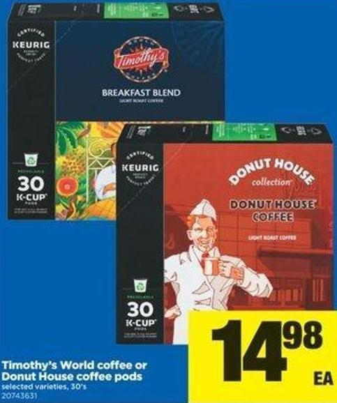 Timothy's World Coffee Or Donut House Coffee PODS - 30's