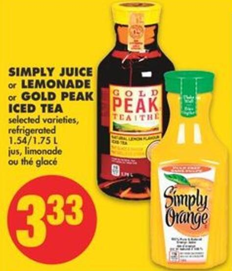 Simply Juice or Lemonade or Gold Peak Iced Tea - 1.54/1.75 L