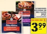Schneiders Bologna Or Deli Sliced Meat