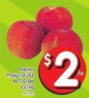 Peaches Product of USA No. 1 Grade 4.41/kg