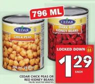 Cedar Chick Peas Or Red Kidney Beans