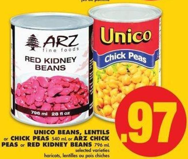 Unico Beans - Lentils Or Chick Peas - 540 Ml Or Arz Chick Peas Or Red Kidney Beans - 796 Ml