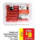 Maple Leaf Fresh Breakfast or Dinner Sausages 375 g - 450 g