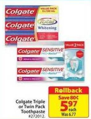 Colgate Triple or Twin Pack Toothpaste