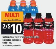 Gatorade Or Powerade Sports Drinks - 6x591 mL