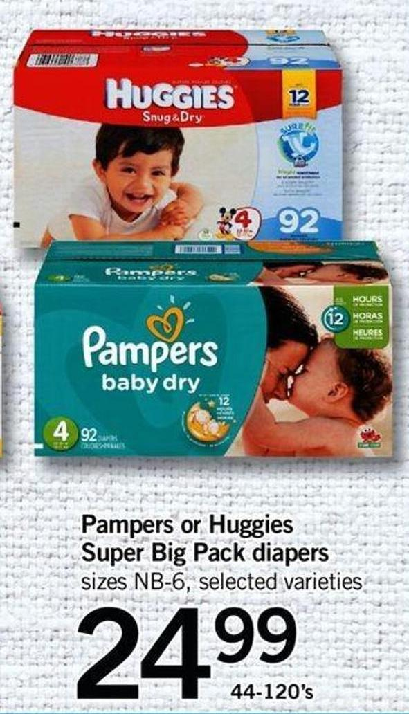 Pampers Or Huggies Super Big Pack Diapers Sizes Nb-6 - 44-120's