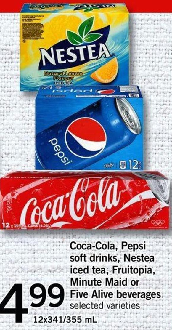 Coca-cola - Pepsi Soft Drinks - Nestea Iced Tea - Fruitopia - Minute Maid Or Five Alive Beverages - 12x341/355 Ml