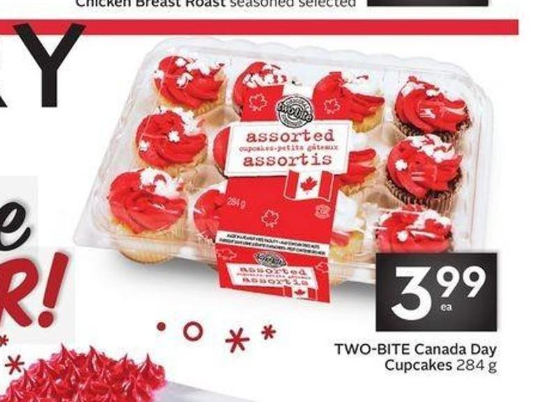 Two-bite Canada Day Cupcakes