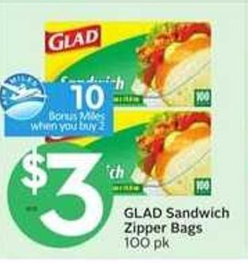 Glad Sandwich Zipper Bags - 10 Air Miles