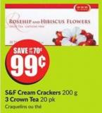S&f Cream Crackers 200 g 3 Crown Tea 20 Pk