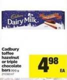 Cadbury Toffee Hazelnut Or Triple Chocolate Bars - 300 g