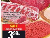 Pork Back Ribs Or Tenderloin Cryovac Package Of 2 - Extra Lean Ground Beef - Family Size Or Split Chicken Wing