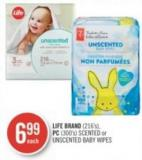 Life Brand (216's) - PC (300's) Scented or Unscented Baby Wipes