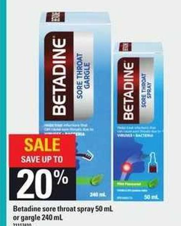 Betadine Sore Throat Spray - 50 ml or Gargle - 240 ml