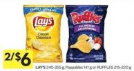 Lay's 240-255 g - Poppables 141 g or Ruffles 215-220 g