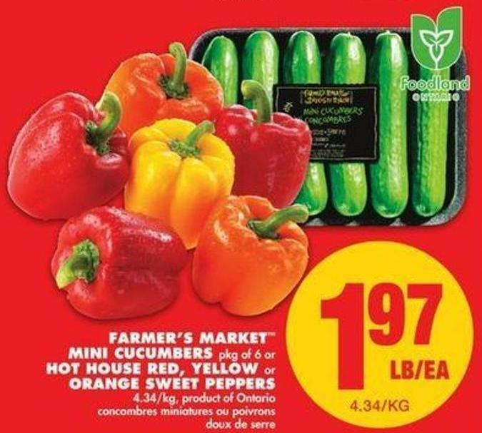 Farmer's Market  Mini Cucumbers - Pkg Of 6 Or Hot House Red - Yellow Or Orange Sweet Peppers