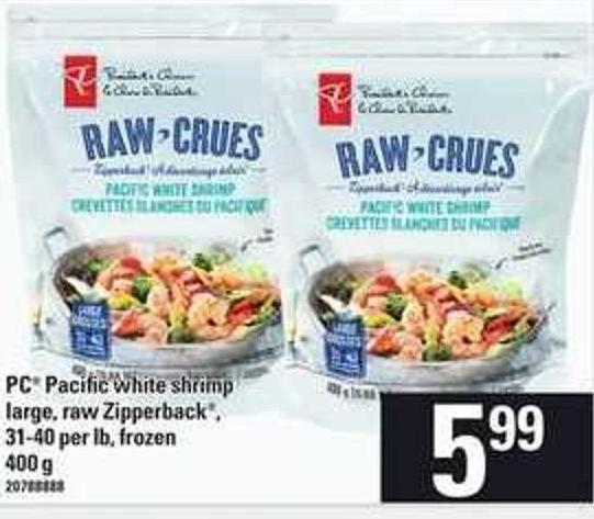 PC Pacific White Shrimp Large - Raw - Zipperback - 31-40 Per Lb Frozen - 400 g