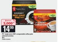 PC Single Serve 100% Compostable Coffee PODS - 30's