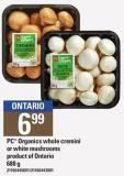 PC Organics Whole Cremini Or White Mushrooms - 680 G
