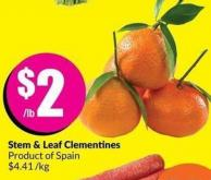 Stem & Leaf Clementines Product of Spain 4.41/kg