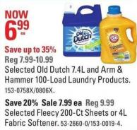 Selected Old Dutch 7.4l and Arm & Hammer 100-load Laundry Products