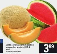 Jumbo Cantaloupe Or Mini Seedless Watermelon