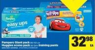 Pampers Giant Pack - 86-112's Or Huggies Econo Pack - 82-124's Training Pants