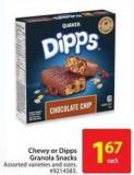 Chewy or Dipps Granola Snacks