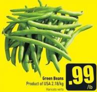 Green Beans Product of USA 2.18/kg
