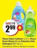 Fleecy Fabric Softener 1.47 L Fleecy Dryer Sheets 80 Pk Palmolive Dish Detergent 887 Ml-1 L