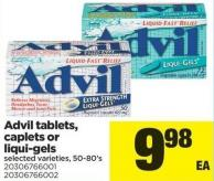 Advil Tablets - Caplets Or Liqui-gels - 50-80's