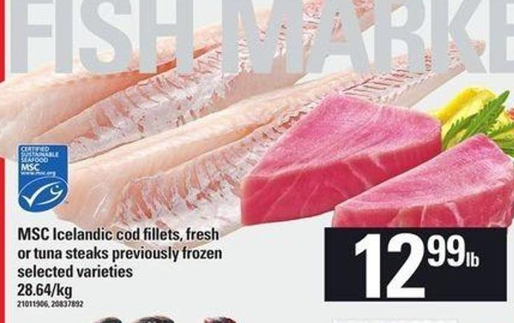 Msc Icelandic Cod Fillets - Fresh Or Tuna Steaks