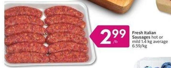 Fresh Italian Sausages Hot or Mild 1.4 Kg