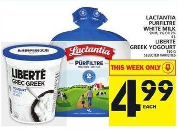 Lactantia Purfiltre White Milk Or Liberté Greek Yogourt