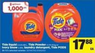 Tide Liquid 3.4/4.08 L - Tide Powder 4.7/4.9 Kg Or Ivory Snow 2.95l Laundry Detergent - Tide PODS 36-72's