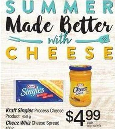 Kraft Singles Process Cheese Product 450 g Cheez Whiz Cheese Spread 450 g