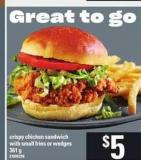 Crispy Chicken Sandwich With Small Fries Or Wedges - 361 g